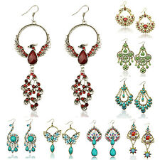 Mixed Retro Copper Resin Crystal Peacock Eardrop Hook Dangle Earrings LXZ233