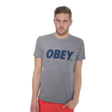 Obey - Obey Font T-Shirt Heather Grey / Navy