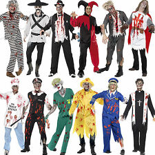 Adult Mens Zombie Outfit Fancy Dress Costume Halloween New Face Paint Fake Blood
