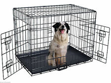 """New 48"""" 2 Door Wire Folding Pet Dog Cat Crate Cage Kennel Suitcase w/Divider"""