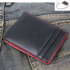 New Mens Wallet KOREA -410 Neck Strap Leather Spring Money Clip Purse Zip Holder