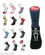 ADULT MENS LADIES SILLY SOCKS RETRO TRAINERS NOVELTY FUNNY JOKE GIFT SIZE 5-11
