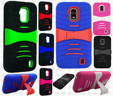 For Straight Talk ZTE Solar Z795G Hard Gel Rubber KICKSTAND Case Phone Cover