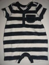 NWT Baby Gap 0-3 3-6 Terry Blue Ivory Striped Romper One-Piece New