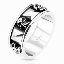 Stainless Steel Skull and Pyramid Cast Mens Band Ring Size 9 -13