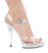 Sexy Clear Ankle Strap Open Toe High Heel Dancer Shoes