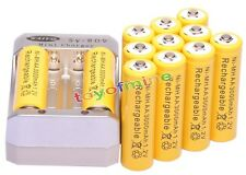12xAA 3000mAh 1.2V Ni-MH Rechargeable Battery Yellow for RC Toys Camera +Charger