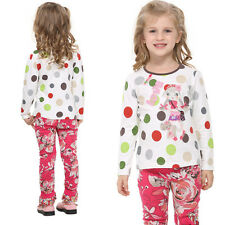 Girls Clothes Babys Kids Tops T-Shirts Colorful Cartoon Embroid Collar Size 1-6Y