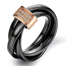 Tungsten Black & Rose Gold Colour Crystal Mens Wedding Ring Size 5- 10 R584