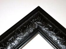 "3.5"" Wide Black/Silver Ornate Canvas Picture Frame-Custom Made Standard Sizes"