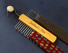 Engraved Personalised Scarf Belt Tie Rack Organiser Fathers Day Gift Present etc