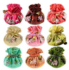 WHOLESALE MIXED COLORS SILK JEWELRY TRAVEL BAG ROLL POUCH BROCADE BAG
