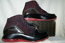 Men's NEW AND 1 Franchise Mid Black Basketball Shoes with Red Top Stitching Trim