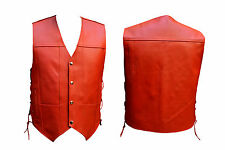 Men's Red Leather 10 Pockets Motorcycle Biker Vest Brand New S To 6XL