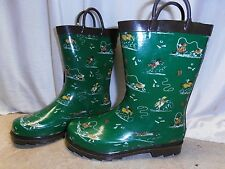 Kids Boys GREEN Rodeo Horse Treaded Rubber Rain Muck Boots 9 10 11 12 13 1 2 3