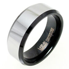 CLOSEOUT Tungsten Men's Black w/ Silver Stripe Beveled Band Ring Size 7-14