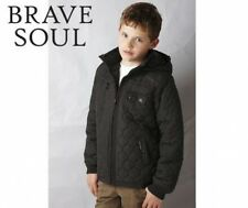 BNWT NEW BOYS BRAVE SOUL BLACK QUILTED JACKET 7/8 & 9/10 YRS PADDED COAT HOODED