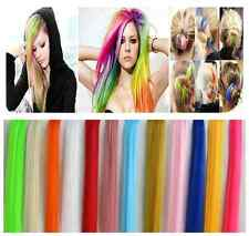 "18"" Multi Color Women Long Straight Synthetic Clip in on Hair Extensions Piece"