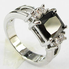 Size 6,7,8,9 Jewelry Woman's Black Sapphire 10KT White Gold Filled Ring