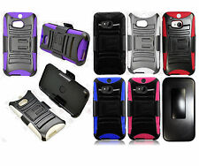 For HTC One M8 Combo Holster HYBRID KICK STAND Rubber Case Phone Cover Accessory