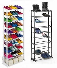 10 Tier Black White Shoe Heels Trainers Storage Rack Organiser Shelve Stand
