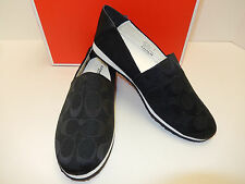 NEW COACH MARVIS BLACK/ BLACK SIGNATURE CANVAS UPPER CUTE SLIP ON CASUAL LOAFER