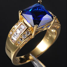 Size 9-13 Deluxe Men's Huge Jewelry Blue Tanzanite 10KT Yellow Gold Filled Ring
