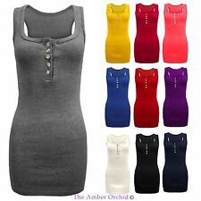 LADIES STRETCH SLEEVELESS BODYCON PLAIN RACER BACK MUSCLE WOMENS RIB VEST TOP