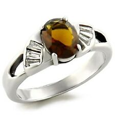Silver Smoky Topaz Cocktail Ring Brown Stone Size 5 6 7 8 9 10 USSeller