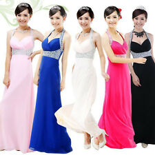 Diamond Wedding Bridesmaid Cocktail Formal Evening Party Prom Gowns Long Dress