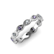 Iolite & Diamond (SI2-I1, G-H) Twisted Eternity Band 0.28-0.30 ct tw in 14K Gold