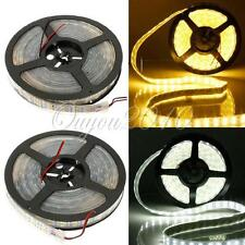 5M 600 LEDs Double Row 5050 SMD Cool/Warm White Light Strip Tube Waterproof 12V
