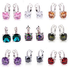 Christmas Gift Amethyst & Morganite Multi-Color Gems Dangle Hook Silver Earrings