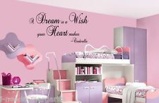 A Dream Is A Wish Your Heart Makes Cinderella Vinyl Wall Quote Decal 99109