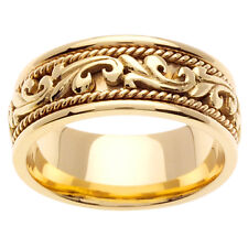 14K Yellow Gold Art Deco Theme Wedding Ring Band 9mm (WJRL02304)