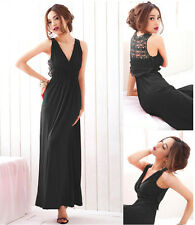 Women Sexy Maxi Long Lace V-neck Slim Fitted Evening Party Dress 3 Color 6-8