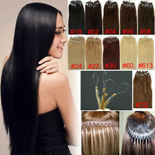 US Micro Bead Ring Sexy Loop 100% Human Hair Extensions Soft REMY 100s All Color
