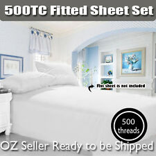 New 500TC Egyptian Cotton Fitted+Pillowcases 3PC Sheet Set Double/Queen/King