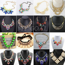 Vintage Charm Jewelry Crystal Chunky Choke Statement Bib Pendant Chain Necklace