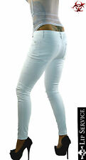 LIP SERVICE WHITE VINYL PVC VEGI LEATHER BIKER FETISH GOTHIC PANTS PUNK  JEANS