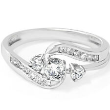 .55CT Twist Round Diamond Engagement Wedding Ring Band Bridal Set 14K White Gold