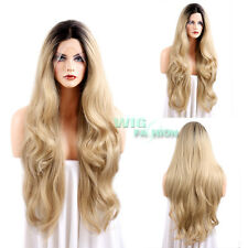 """18""""-28"""" Long Curly Wavy Dark Brown Roots with Blonde Lace Front Synthetic Wig"""