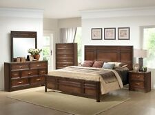 Medium Finish Queen or King Bed Solid Wood Marble Top Bedroom Furniture Set