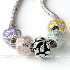 Silver Plate Enamel Flower Spacer Loose Beads For European Charms Bracelet