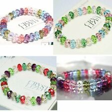 New Crystal Glass Abacus Faceted Beads Bracelet Bangle Stretchy Gift For Ladies