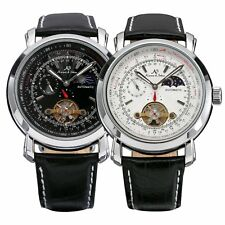 KS Men's Automatic Mechanical Black Leather Stainless Steel Luxury Wrist Watch
