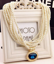New!Occident Style exquisite multilayer Pearl blue Big Gem LUXURY Necklace