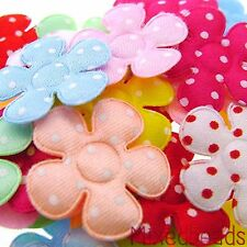 "*U PICK* 80-100 Satin Polka Dot Flower 1"" applique padded fabric hair craft cute"