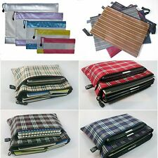 Grid Stripe Zipper Folder Stationery Folder Office Supplies Transparent New
