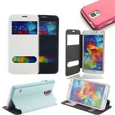 New Glossy View Window Flip PU Leather Case Cover for Samsung Galaxy S5 i9600